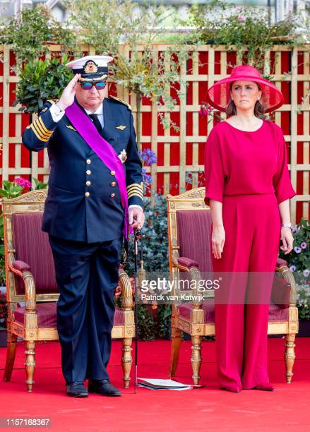 Prince Laurent of Belgium and Princess Claire of Belgium attend the military parade during Belgian National Day on July 21, 2019 in Brussels, Belgium.