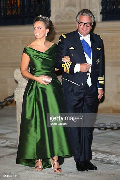 Prince Laurent of Belgium and Princess Claire of Belgium attend the Gala dinner for the wedding of Prince Guillaume Of Luxembourg and Stephanie de...