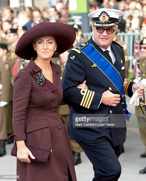 Prince Laurent of Belgium and Princess Claire of Belgium attend the wedding ceremony of Prince Guillaume Of Luxembourg and Stephanie de Lannoy at the...