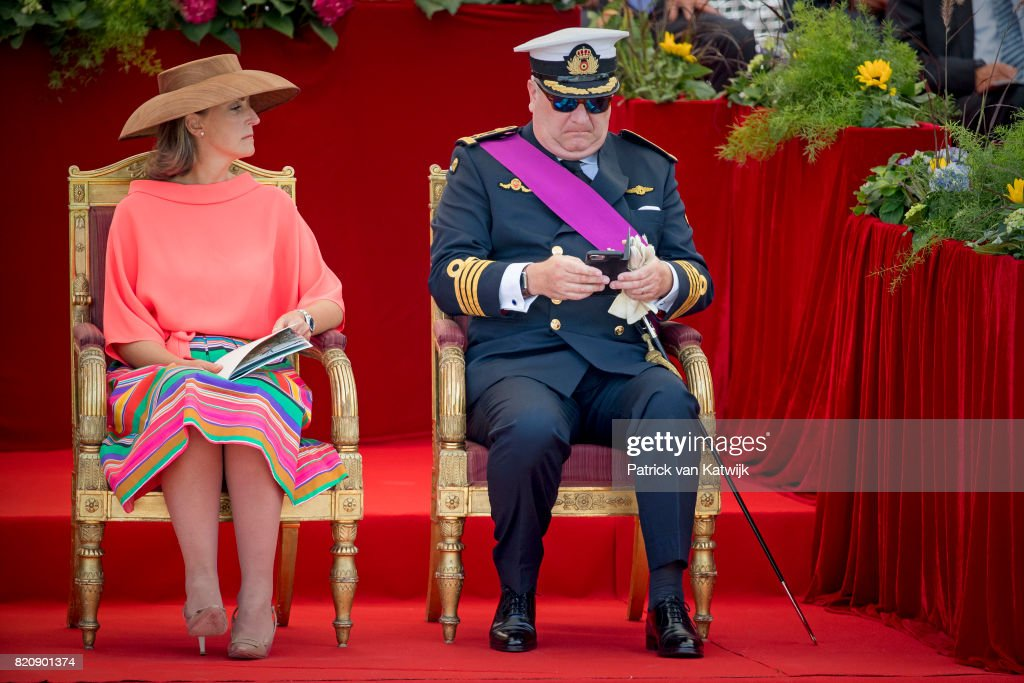 Prince Laurent of Belgium and Princess Claire of Belgium attend the military parade on the occasion of the Belgian National Day in the front of the Royal Palace on July 21, 2017 in Brussels, Belgium.