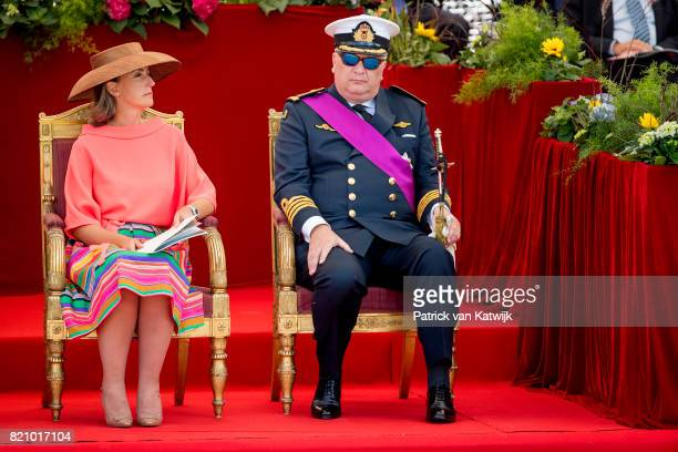 Prince Laurent of Belgium and Princess Claire of Belgium attend the military parade on the occasion of the Belgian National Day in the front of the...
