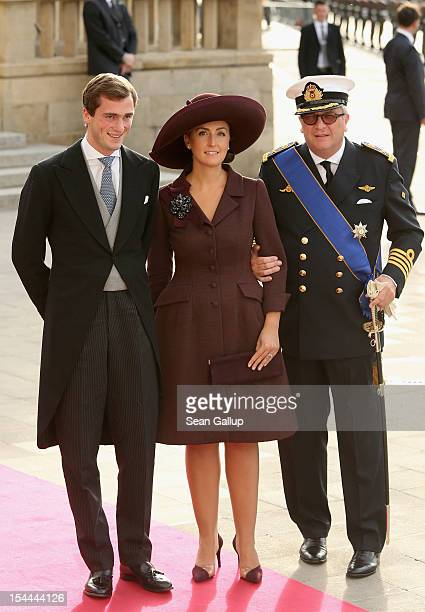 Prince Laurent of Belgium and Princess Claire of Belgium attends the wedding ceremony of Prince Guillaume Of Luxembourg and Princess Stephanie of...