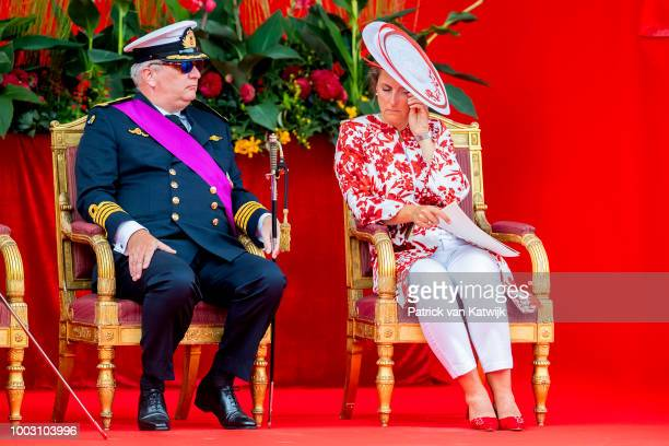 Prince Laurent of Belgium and Princess Claire of Belgium during the military parade at the National Day on July 21 2018 in Brussels Belgium