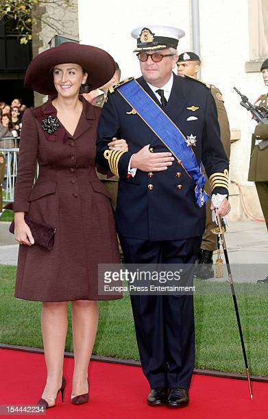 Prince Laurent of Belgium and Princess Claire of Belgium during the wedding ceremony of Prince Guillaume Of Luxembourg and Countess Stephanie de...