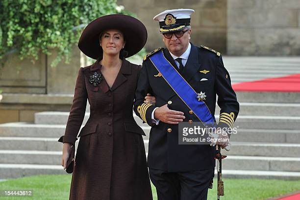 Prince Laurent of Belgium and Princess Claire of Belgium emerge from the Cathedral following the wedding ceremony of Prince Guillaume Of Luxembourg...