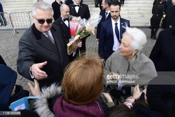 Prince Laurent of Belgium and Queen Paola of Belgium meet citizens after a special Mass to commemorate the deceased members of the Belgian Royal...