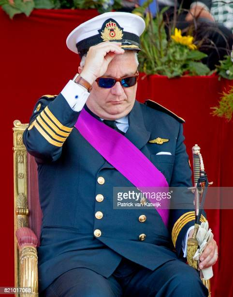 Prince Laurent of Belgium attends the military parade on the occasion of the Belgian National Day in the front of the Royal Palace on July 21 2017 in...