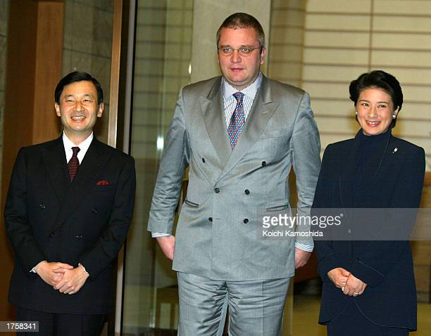 Prince Laurent of Belgium is greeted by Crown Prince Naruhito and Crown Princess Masako of Japan upon Prince Laurent's arrival at the Crown Prince's...