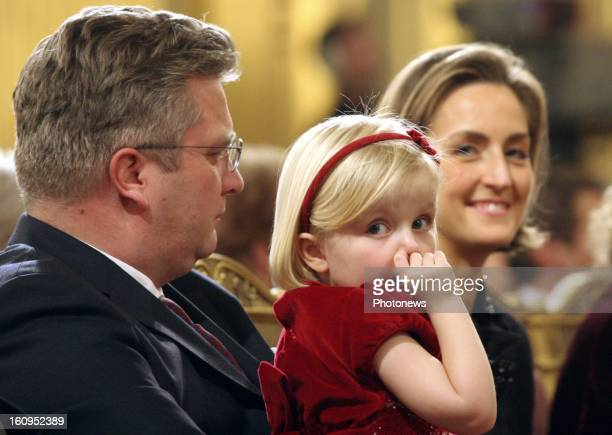 Prince Laurent of Belgium, Princess Claire and Princess Louise attend the Xmas concert at the Royal Palace on December 20, 2006 in Brussels, Belgium.