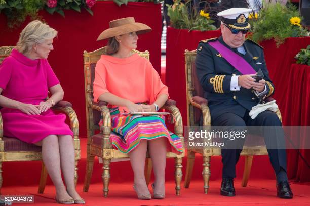 Prince Laurent of Belgium Princess Claire of Belgium and Princess Astrid of Belgium attend the National Day Parade on July 21 2017 in Brussels Belgium