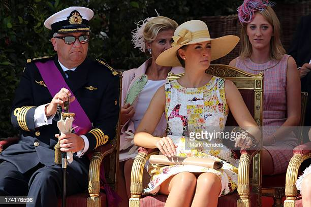 Prince Laurent of Belgium Princess Claire of Belgium and Princess Luisa Maria of Belgium seen at the Civil and Military Parade during the Abdication...