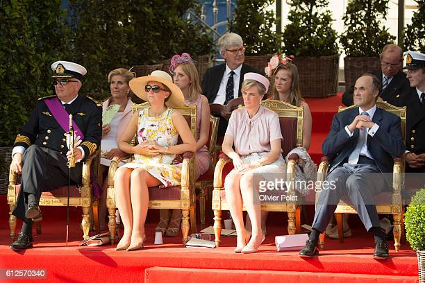 Prince Laurent of Belgium Princess Claire of Belgium Princess Astrid of Belgium and Prince Lorenz of Belgium pictured during the military parade of...