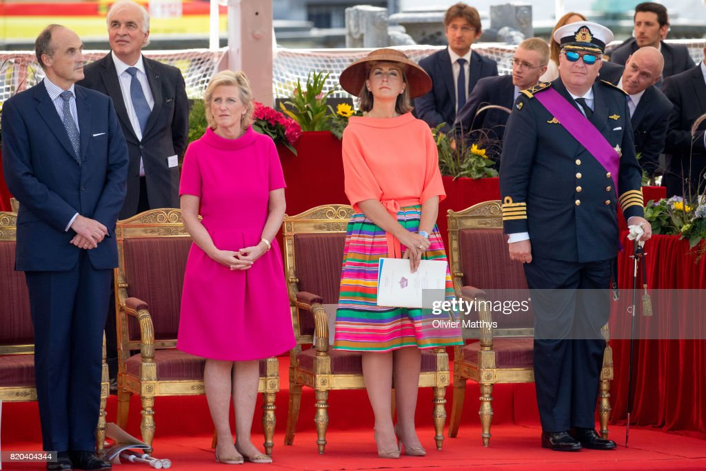 Prince Laurent of Belgium, Princess Claire of Belgium, Princess Astrid of Belgium and Prince Lorenz of Belgium attend the National Day Parade on July 21, 2017 in Brussels, Belgium.