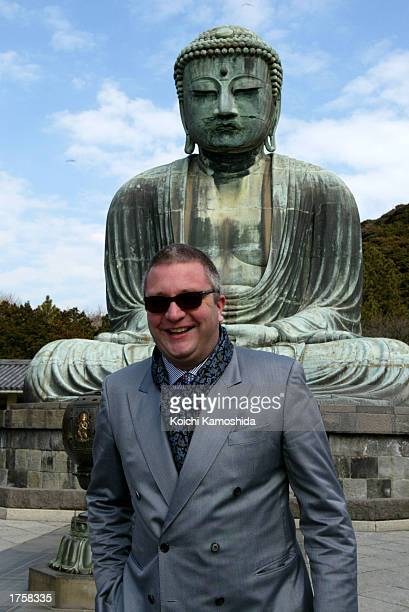 Prince Laurent of Belgium stands in front of the Daibutsu or Buddha of Kamakura February 3 2003 in Kamakura Japan Laurent is on a fiveday visit to...