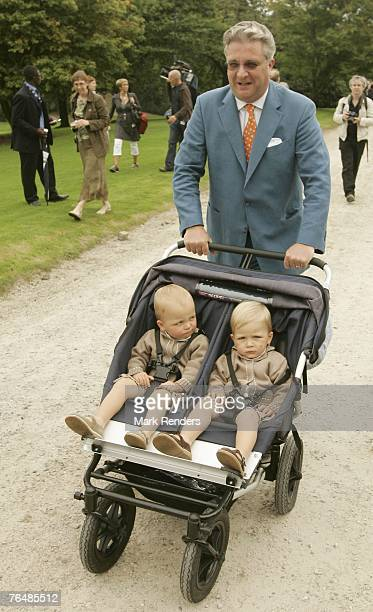 Prince Laurent Prince Emmerick and Prince Nicolas from Belgium assists a party for Queen Paola's 70th birthday at Laeken Castle on September 02 2007...