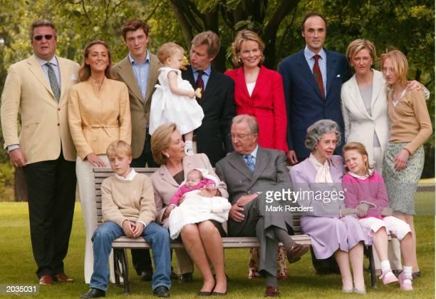 Prince Laurent Princess Claire Amadeo Prince Philippe holding Princess Elisabeth Princess Mathilde Prince Lorenz Princess Astrid Princess Maria Laura...