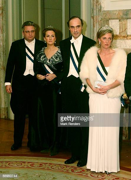 Prince Laurent Princess Claire Prince Lorentz and Princess Astrid pose before the gala dinner at Laeken Castle October 18 2005 in Brussels Belgium...