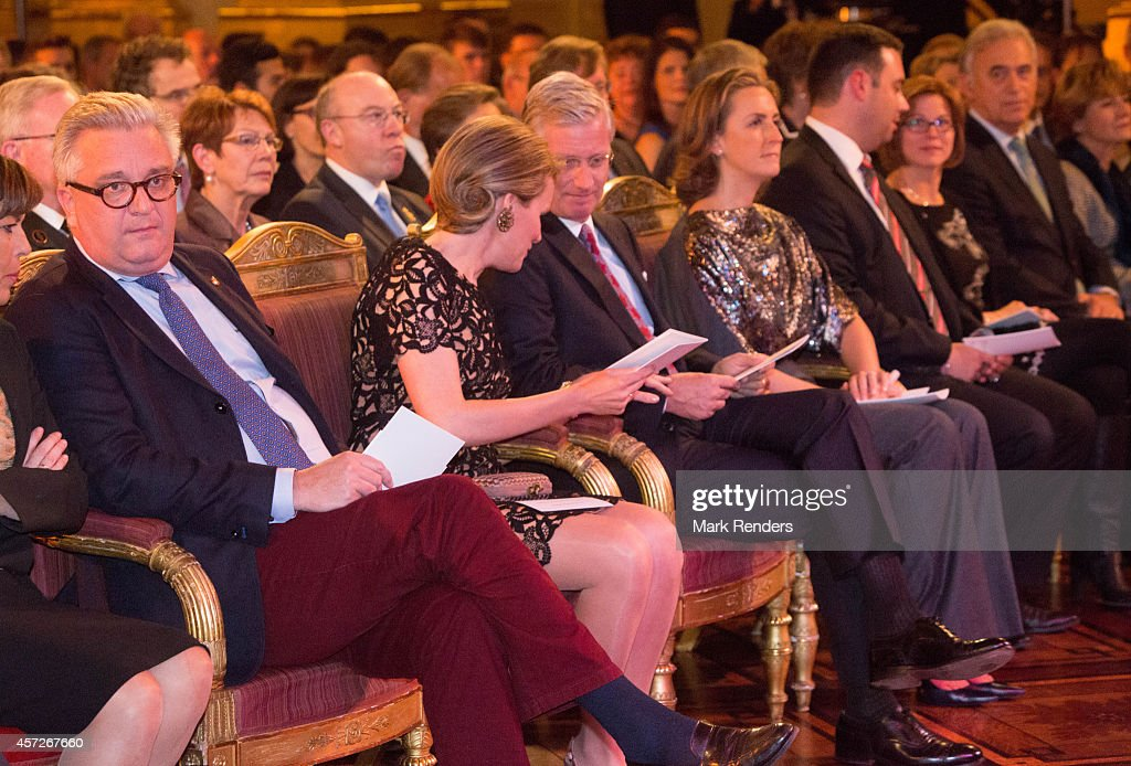 Prince Laurent, Queen Mathilde and King Philippe.Princess Claire of Belgium assist the Autumn Concert at the Royal Palace on October 15, 2014 in Brussels, Belgium.