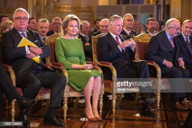 Prince Laurent Queen Mathilde King Philip of Belgium and King Albert II attend The Fight against Trafficking Human Beings session at the Royal Palace...