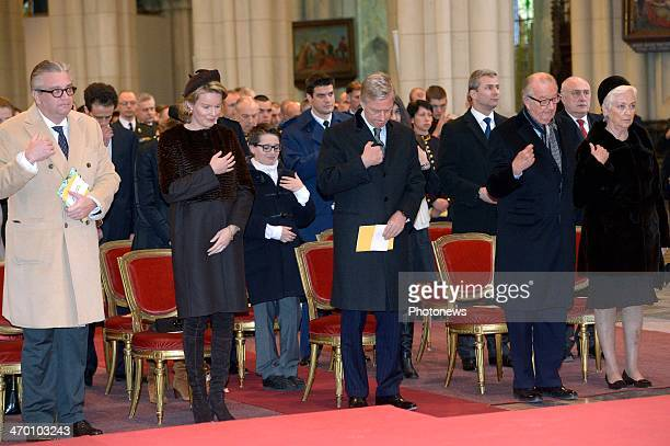 Prince Laurent Queen Mathilde King Philippe King Albert and Queen Paola of Belgium attend a mass for the deceased of the Royal Family on February 18...