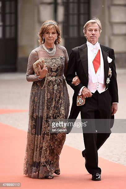 Prince Leopold of Bavaria and his wife Ursula of Bavaria attend the royal wedding of Prince Carl Philip of Sweden and Sofia Hellqvist at The Royal...