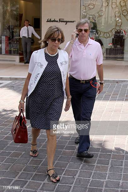Prince Leopold of Bavaria and his wife Uschi of Bavaria are sighted around the 'Hermitage' hotel before the Royal Wedding of Prince Albert II of...