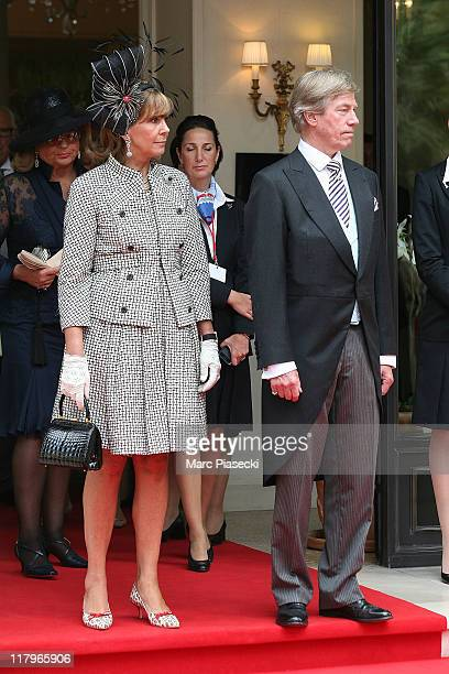 Prince Leopold of Bavaria and his wife Uschi of Bavaria leave the 'Hermitage' hotel to attend the religious ceremony of the Royal Wedding of Prince...