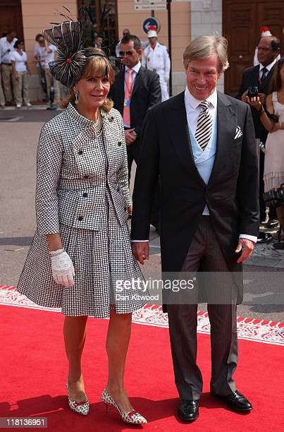 Prince Leopold of Bavaria and Princess Uschi of Bavaria attend the religious ceremony of the Royal Wedding of Prince Albert II of Monaco to Princess...