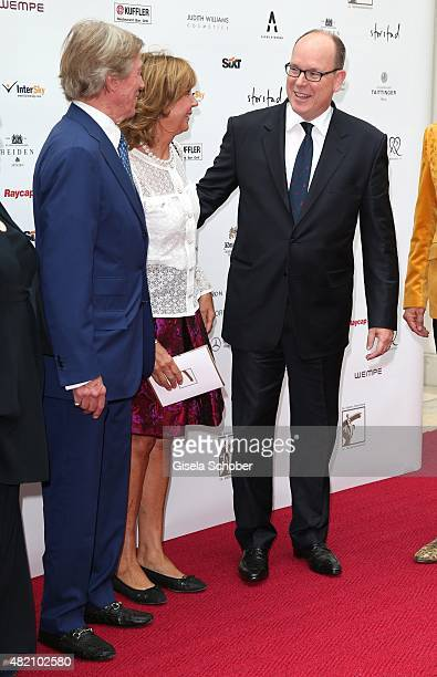 Prince Leopold of Bavaria Princess Ursula of Bavaria Prince Albert II of Monaco during the 'Die Goldene Deutschland' Gala on July 26 2015 at...