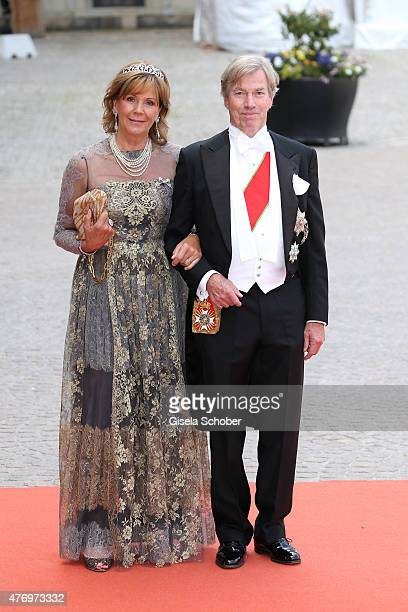 Prince Leopold Poldi and his wife Princess Ursula Uschi of Bayern attend the royal wedding of Prince Carl Philip of Sweden and Sofia Hellqvist at The...