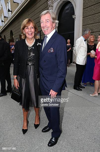 Prince Leopold Poldi of Bavaria and his wife princess Ursula Uschi of Bavaria during the premiere of the opera 'Manon Lescaut' on August 1 2016 in...
