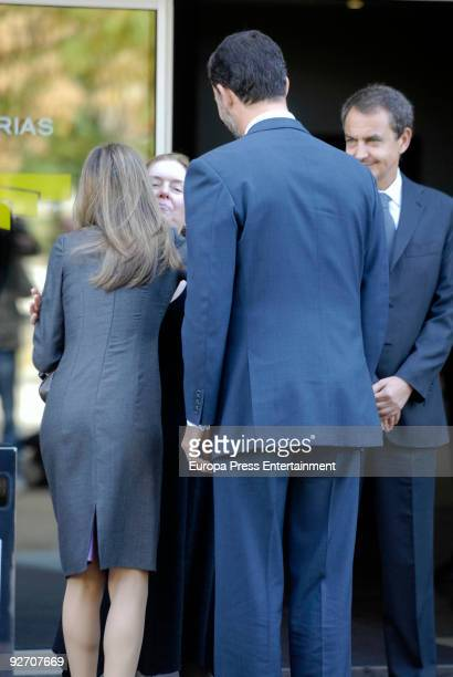Prince Letizia Ayala's relative Prince Felipe and President of Spain Jose Luis Rodriguez Zapatero at the chapel of rest on November 4 2009 in Madrid...