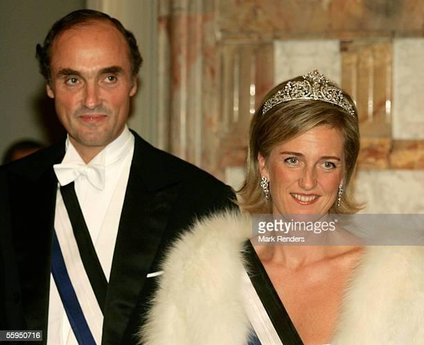 Prince Lorentz and Princess Astrid pose pose before the gala dinner at Laeken Castle October 18 2005 in Brussels Belgium Portuguese President Jorge...