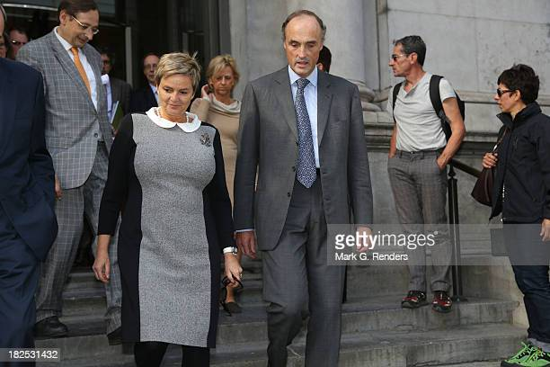 Prince Lorentz of Belgium and Princess Gloria Von Thurn Und Taxis visit the Musee des Beaux Arts on September 29, 2013 in Brussels, Belgium.