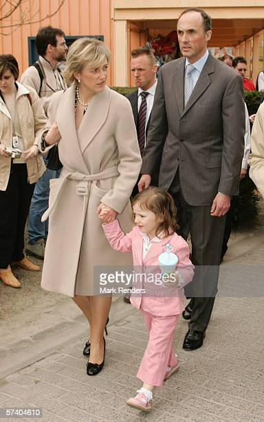 Prince Lorentz of Belgium, Princess Astrid and their daughter Princess Laetitia, who turns three today, attend 14 Days Of The Belgian Red Cross April...