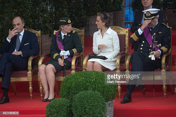 Prince Lorentz Princess Astrid Princess Claire and Prince Laurent of Belgium assist National Day at Place des Palais on July 21 2014 in Brussel...