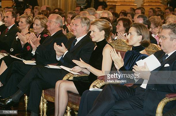 Prince Lorentz Princess Astrid Queen Paola King Albert Prince Philippe Princess Mathilde Princess Claire and Prince Laurent of Belgium attend a...