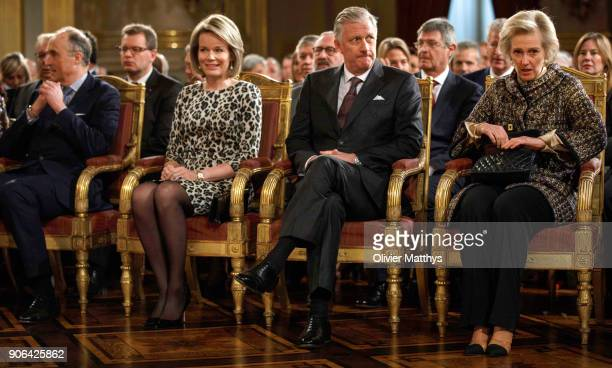 Prince Lorenz King Philippe of Belgium Queen Mathilde and Princess Astrid receive the Belgian Authorities at the Royal Palace on January 18 2018 in...
