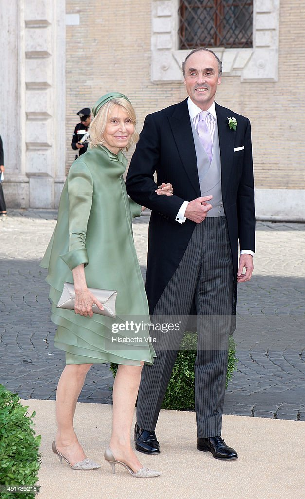 Prince Lorenz of Belgium and Lilia Rosboch von Wolkenstein arrive at Wedding of Prince Amedeo of Belgium and Elisabetta Maria Rosboch Von Wolkenstein at Basilica Santa Maria in Trastevere on July 5, 2014 in Rome, Italy.