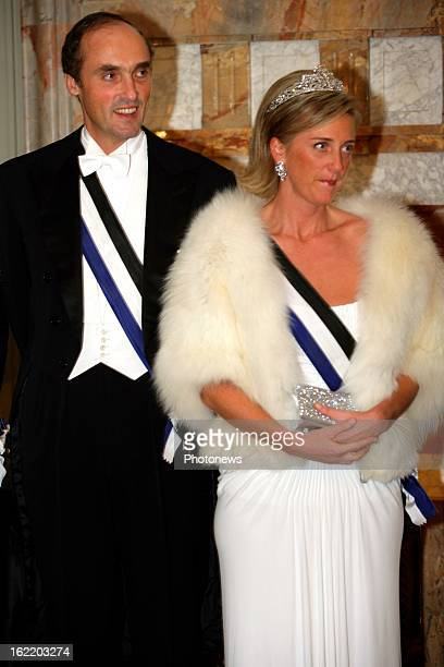 Prince Lorenz of Belgium and Princess Astrid at the gala dinner during the state visit of the Portuguese President Mr Jorge Sampaio and his wife in...