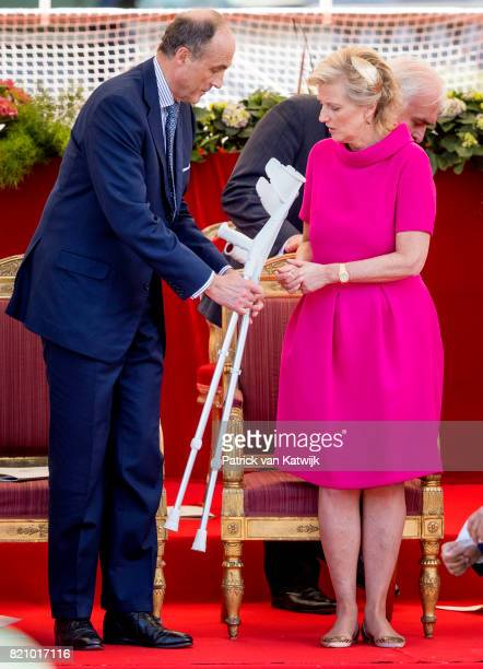 Prince Lorenz of Belgium and Princess Astrid of Belgium attend the military parade on the occasion of the Belgian National Day in the front of the...