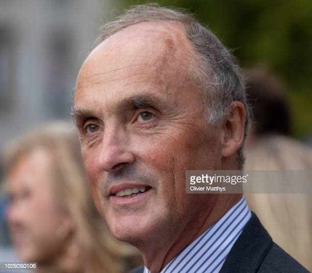 Prince Lorenz of Belgium leaves a mass to remember the 25th anniversary of the death of King Baudouin at Notre Dame Church on September 8, 2018 in...