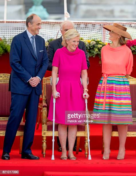 Prince Lorenz of Belgium, Princess Astrid of Belgium and Princess Claire of Belgium attend the military parade on the occasion of the Belgian...