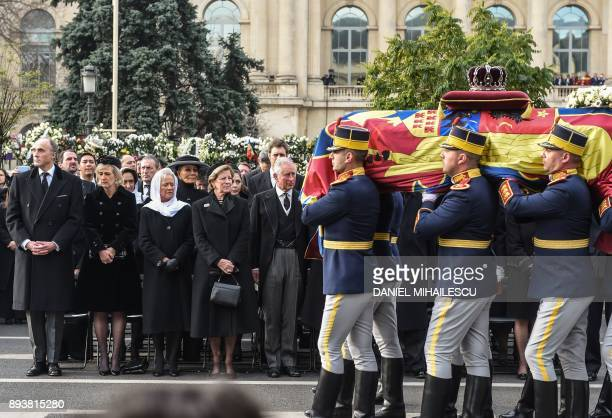 Prince Lorenz of Belgium Princess Astrid of Belgium Princess Muna of Jordan Queen AnneMarie of Greece and Prince Charles of Wales attend the funeral...