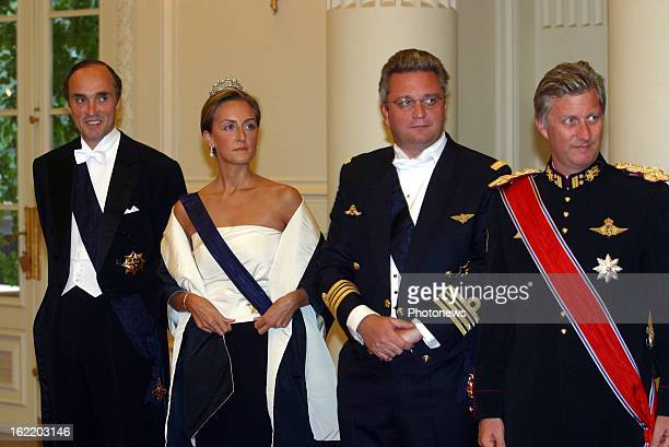 Prince Lorenz of Belgium Princess Claire Prince Laurent and Prince Philippe at the gala dinner for King Harald and Queen Sonja of Norway during their...
