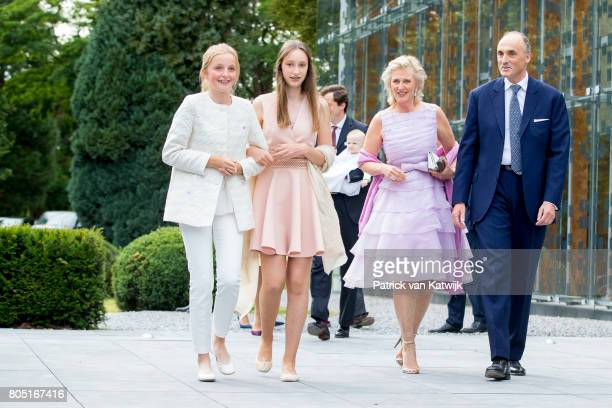 Prince Lorenz Princess Astrid Princess Laetitia Maria and Princess Louise of Belgium attend the 80th birthday celebrations of Belgian Queen Paola on...