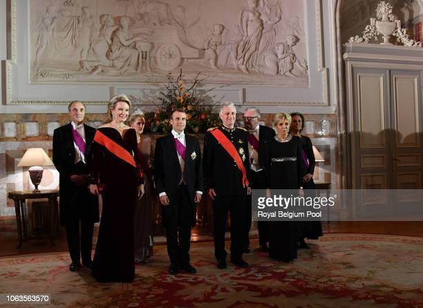 Prince Lorenz Queen Mathilde Princess Astrid President of France Emmanuel Macron King Philip of Belgium Prince Laurent and First Lady of France...