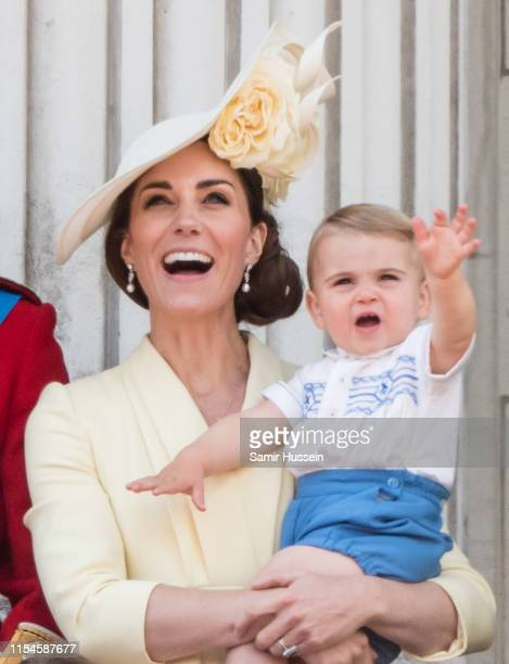Prince Louis and Catherine Duchess of Cambridge appear on the balcony during Trooping The Colour the Queen's annual birthday parade on June 08 2019...