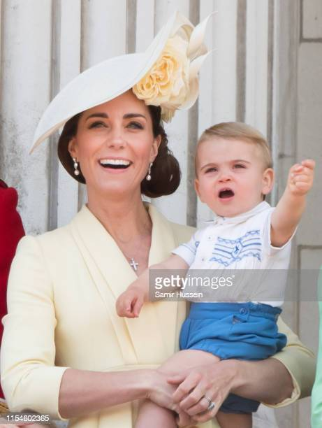 Prince Louis and Catherine, Duchess of Cambridge appear on the balcony during Trooping The Colour, the Queen's annual birthday parade, on June 08,...