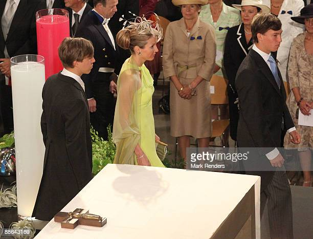 Prince Louis and Princess Tessy and Prince Sebastien assist the Te Deum at the Luxembourg Cathedral on National Day on June 23, 2009 in Luxembourg,...